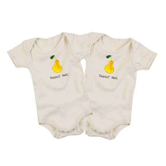 Perfect Pear Baby Short Sleeve Bodysuit Gift Set for Twins (Organic Cotton)