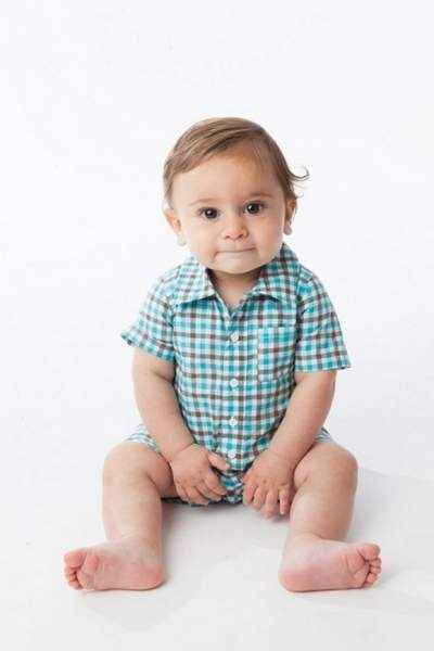 Checked Short Sleeve Button Down Baby Boy Romper