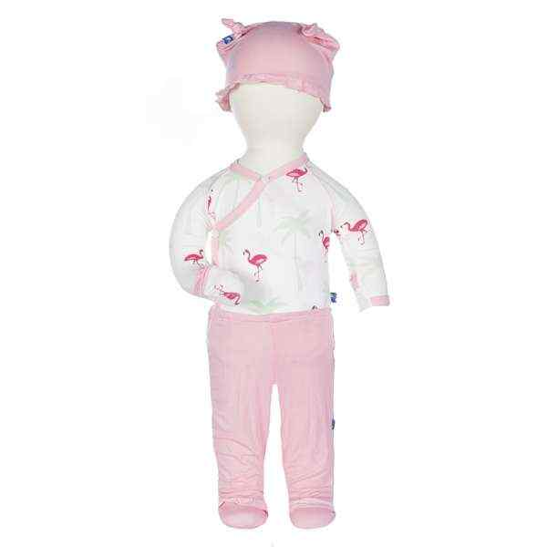 Flamingo Print Baby Girl 3 Piece Outfit Gift Set with Long Sleeve Bodysuit, Footed Pants and Hat (Organic Bamboo)
