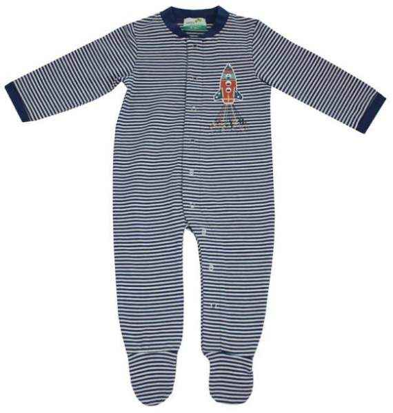 Blue Striped Rocket Long Sleeve Baby Boy Footie Romper and Pajamas