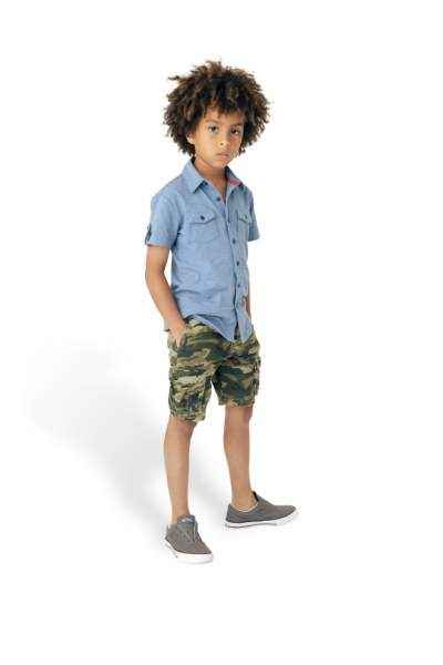 Heather Blue Solid Short Sleeve Baby and Boys Polo Button Down Shirt