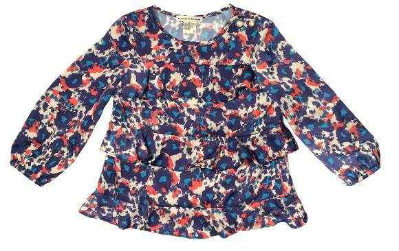 Ruffle Long Sleeve Baby and Little Girls Blouse (American Made)