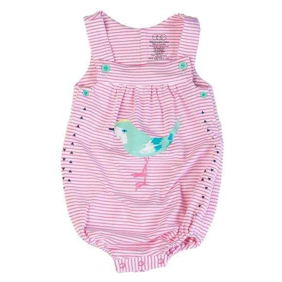 Pink Stripe Sleeveless Baby Girl Bubble Romper