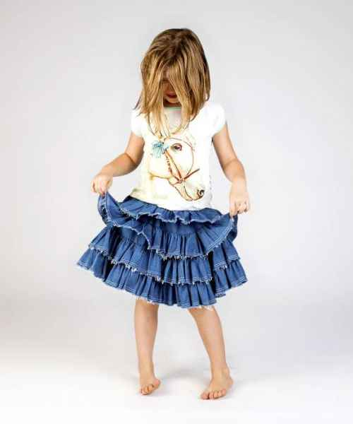 Indigo Denim Big Girls Skirt