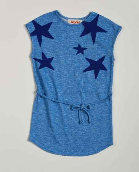 Blue Heather Sleeveless Little Girls Dress