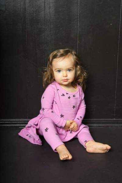 Star Print Long Sleeve Baby Girl Dress and Leggings Outfit Set (American Made)