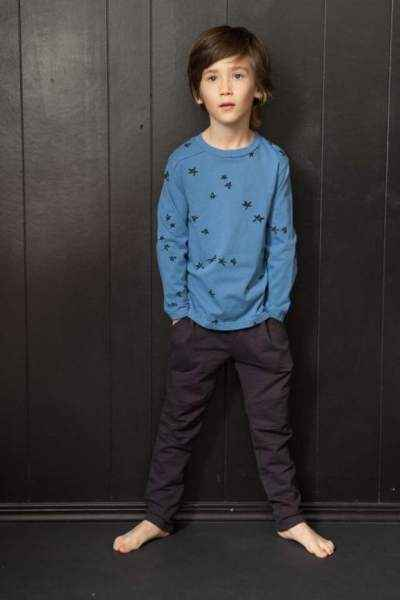 Star Print Blue Long Sleeve Big Boys Modern T Shirt (American Made)