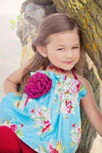 Posie Floral Print Vintage Style Girls Halter Top (American Made)