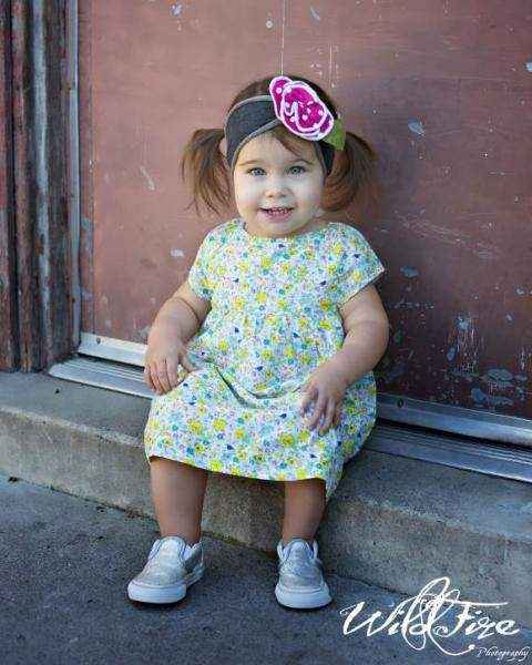 Green Floral Short Sleeve Baby & Girls Dress
