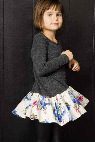Flower Print Long Sleeve Big Girls Dress (American Made)