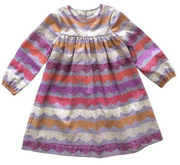 Lace Scallop Long Sleeve Little Girls Dress (American Made)