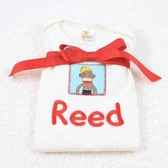 Personalized Blue Sock Monkey Short Sleeve Baby Bodysuit