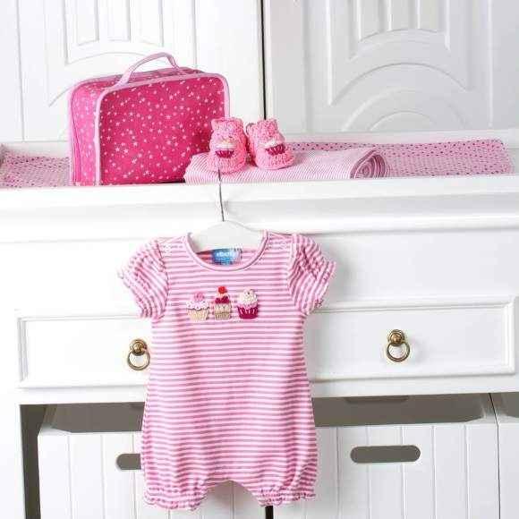 Cupcake Short Sleeve Baby Girl Romper & Bootie Gift Set