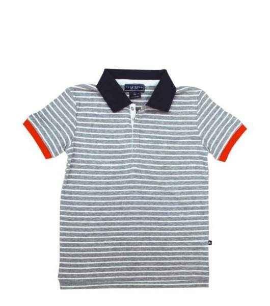 Gray Striped Short Sleeve Big Boys Polo Shirt