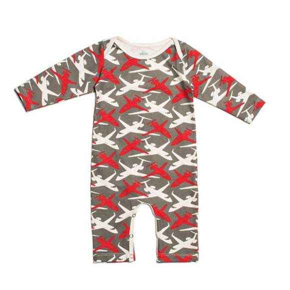 Airplane Print Long Sleeve Baby Boy Playsuit Romper & Pajamas (American Made & Organic Cotton)