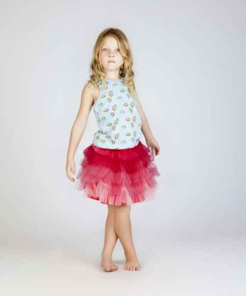 Rainbow Print Sleeveless Girls Retro Top (Organic Cotton)