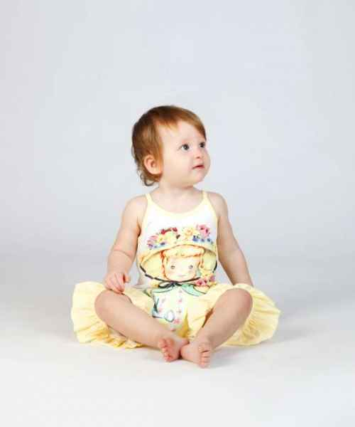 Vintage Girl Sleeveless Baby and Toddler Girls Romper (Organic Cotton)
