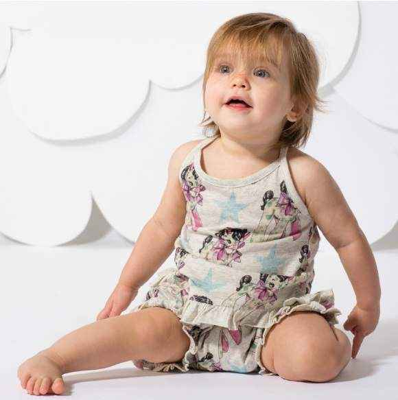 Vintage Horse Print Sleeveless Baby and Toddler Girls Top (Organic Cotton)