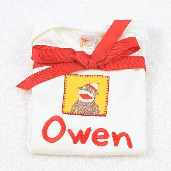 Personalized Yellow Sock Monkey Baby Short Sleeve Bodysuit