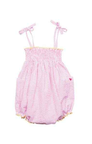 Pink Seersucker Baby Girl Bubble Romper