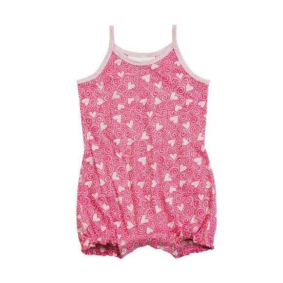 Swirling Hearts Baby Girl Sleeveless Romper (Organic Cotton)