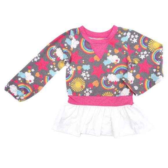 Jenni Peplum Long Sleeve Baby and Toddler Girls Top