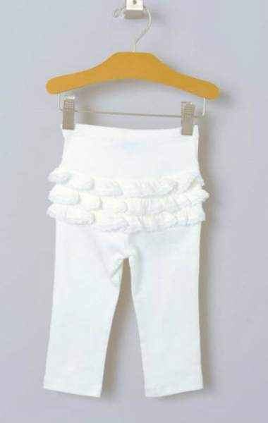 White Ruffle Baby Girl Leggings (Organic Pima Cotton)