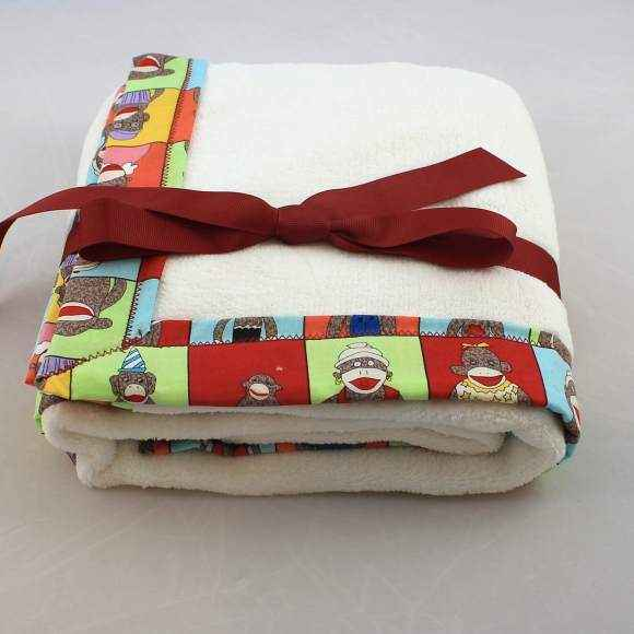 Sock Monkey Yearbook Cuddle Baby Stroller Blanket (American Made)
