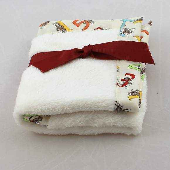 Counting Sock Monkeys Cuddle Lovey Baby Security Blanket (American Made)