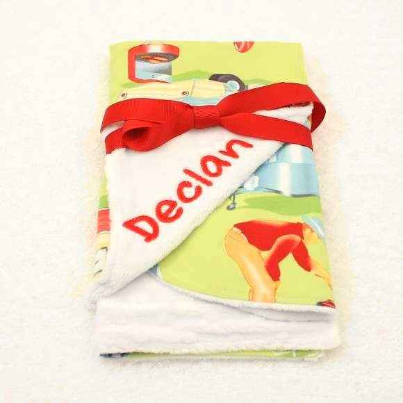 Camper Print Minky Baby Bib & Burp Cloth Gift Set (American Made) (Available Embroidered with a Name)