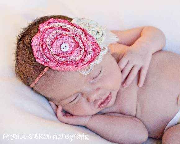 Vivian Baby Girl Shabby Chic Flower Headband (American Made)