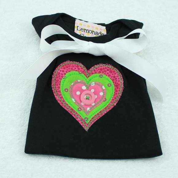 Heart Short Sleeve Baby Girl Bodysuit