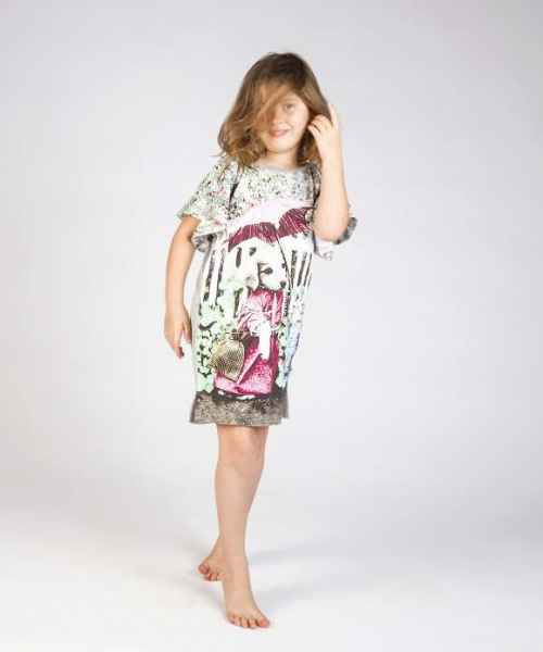 Vintage Dog and Cat Short Sleeve Big Girls Dress (Organic Cotton)