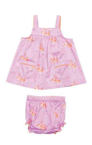 Flamingo Print Sleeveless Blouse & Bloomers Baby Girl Two Piece Outfit Clothing Set