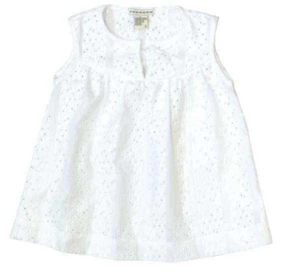 Seaside White Little Girls Sleeveless Blouse (American Made)