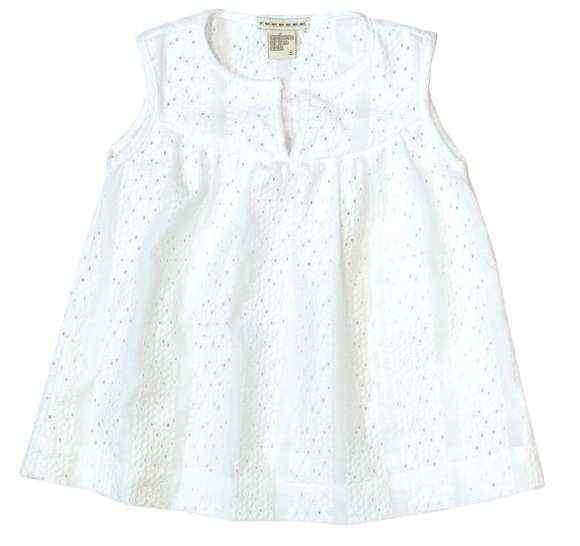 Seaside White Little Girls Sleeveless Blouse (American Made)