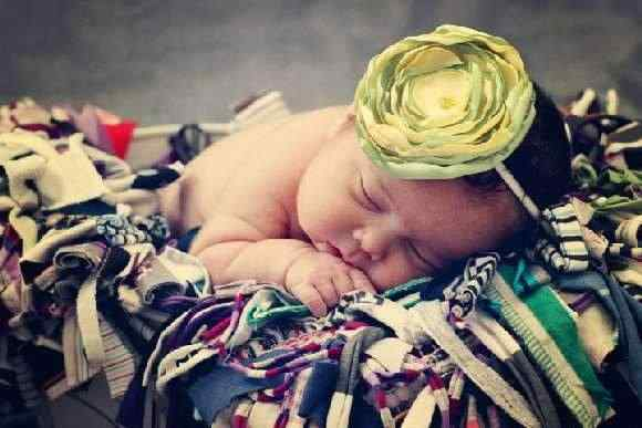 Cassandra Yellow & Green Baby & Girls Flower Headband (American Made)