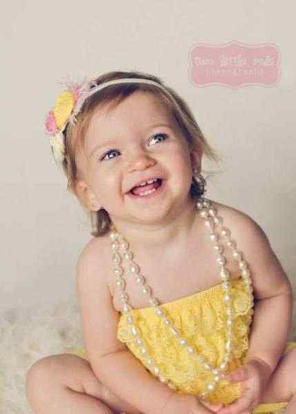 Yellow Baby and Little Girls Lace Ruffle Petti Romper