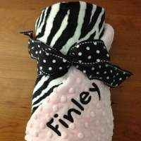 Light Pink Zebra Minky Baby Girl Boutique Blanket Available Personalized (American Made)