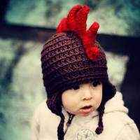 Crocheted Dinosaur Hat in Red for Baby and Toddler Boys