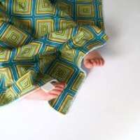 Squares Print Minky Travel Baby Boy Blanket & Oversized Security Blanket (American Made)
