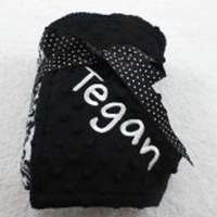 Black Damask Minky Baby Blanket (American Made) (Available Personalized)