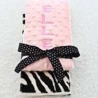 Light Pink Zebra Minky Baby Girl Burp Cloth Set Available Personalized (American Made)