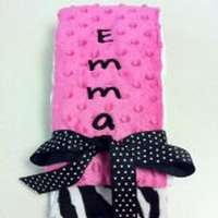 Hot Pink Zebra Minky Baby Girl Burp Cloth Set (American Made) (Available Personalized)